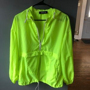 Neon Yellow Quarter Zip Windbreaker